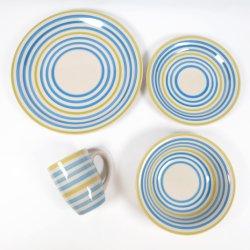 De veelkleurige Milieuvriendelijke Met de hand geschilderde Ceramische Reeks van het Diner van Steengoed