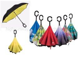 Двойной слой в перевернутом положении заднего хода Зонты складные ТЕБЯ ОТ ВЕТРА зонтик большой прямой зонтик для автомобиля датчик дождя и освещенности на улице с C-образной рукоятки