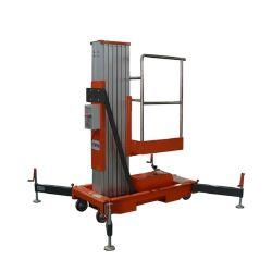Hidráulica de 12 m de mástil individual de aleación de aluminio de doble mástil de elevación de la plataforma de trabajo