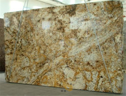 De gouden/Gele/Bruine/Opgepoetste Natuurlijke Countertops van het Graniet Plak/de Tegel van de Steen voor Hotel/Badkamers/Countertop/Vanitytop