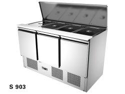 3つのドアの上の開いた食糧鍋のカウンター冷却装置