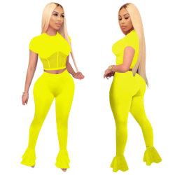 2020 Venta caliente chica del deporte establece dos piezas de la cosecha de la cremallera Sexy Tops y Minipants Color puro Streetwear Casual trajes de motorista
