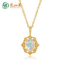 Chapado en oro plata 925 Joyas Vintage Sintético de patrón de Ópalo colgante de joyería de moda mujer regalo