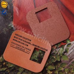 Sinicline hueca de cuero auténtico de la Seda personalizada etiqueta impresa de cuero para ropa