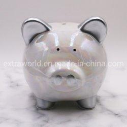Kundenspezifische keramische weiße Piggy Schwein-Münzen-Bank für Geschenk