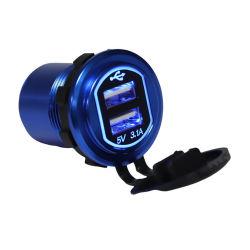 Автомобильное зарядное устройство с двумя портами USB, металлический корпус, высококачественный портативный Автомобильное зарядное устройство USB для мобильного телефона 5 в, 3,1 А.