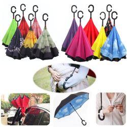 Gancho C mãos de vento inverter a dobragem de dupla camada de suporte automático guarda-chuva invertida do avesso guarda protecção contra a chuva