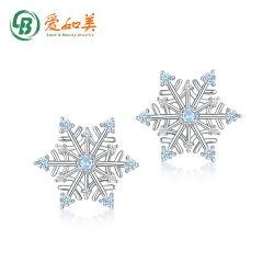 Nouveau mode d'hiver Simple spinelle bleu flocon de neige Earrings femelle de goujon S925 Silver Earrings