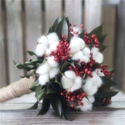 De droge Rode Boon van het Katoenen Vlas van de Bal Natuurlijke en de Bewaarde Bruids Boeketten van het Houvast van de Bladeren van Gardenia