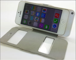 Neuer lederner Ladegerät-Fall für iPhone 5, 5c, 5s, Fenster geöffnet, bester aufladenverbinder, Form-Entwurfs-Leder-Energien-Fall (M5GD)