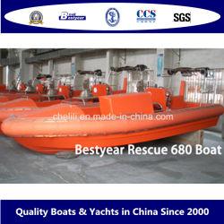 Bestyear 6.8m Fiberglas-Rettungsboot-innerer Motor mit WasserstrahlVerison