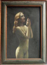 Nude Girl orar a Dios en la pintura al óleo