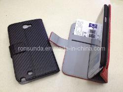 حافظة جلدية من نمط ألياف الكربون لSamsung Galaxy Note2 N7100
