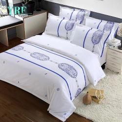 Fils de coton bleu teint Linge de lit d'hôtel à bas prix