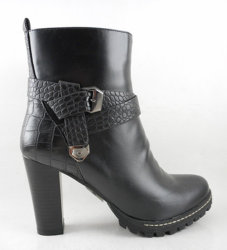 2015 Calçado Feminino de moda do tornozelo Dama de inicialização Boot plataforma com dois blocos de travamento de estanho em bronze de descanso