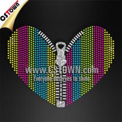 Zipper Corazón Diseño fresco Rhinestud plancha sobre Bling transferencias de calor