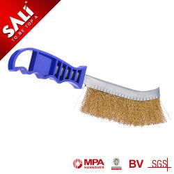 Cepillo de la cuchilla de alambre de acero inoxidable con mango de plástico para la industria mediante