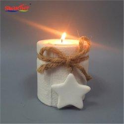 白い陶磁器Tealightのための陶器によって編まれる蝋燭ホールダー