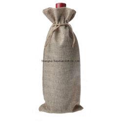 Настраиваемый логотип джута брелоки упаковка Canvas кулиской вино бачок подарочный пакет
