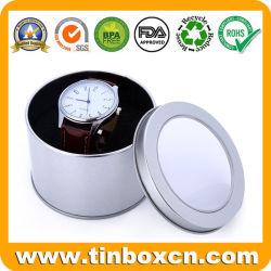 Duidelijke Zilveren Druk om het Tin van het Horloge van het Metaal met het Venster van pvc