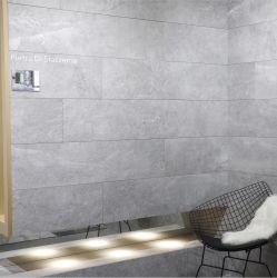600*1200mm luz de casa de banho em granito cinza chão de pedra/parede de azulejos de porcelana