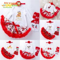 Nette Kinder, die Weihnachtskleidung-beiläufige Säuglingstulle-Ballettröckchen-Kleider und Hairband Weihnachtsbaby-Kleid kleiden