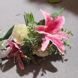 Bon marché de 11 pouces de gros bouquet de fleurs de lys artificielle pour la décoration de mariage