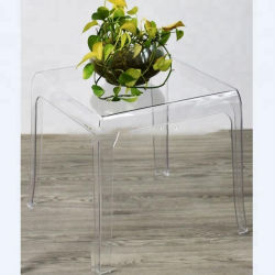 Venta caliente transparentes de acrílico cuadrado moderno Café, té mesa lateral