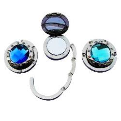 Sac à main personnalisé pliable accessoire de mode en alliage de zinc métal crochet sac sac à main Hanger avec pierres en cristal de diamant (001)