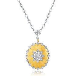 9K Gold Court Style handgemachte Diamant Halskette