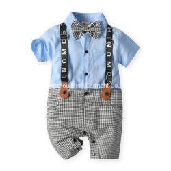 2021 Sommer-Herr-Short-Sleeved stattliche gestrickte Baumwollspielanzug-neugeborene Baby-Kleidung-Jungen-Abnützung