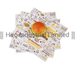 La cocción de alimentos seguros Grease-Proof grado Burger personalizados de papel, el logotipo impreso y el tamaño de la hamburguesa del papel de embalaje