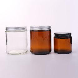Vaso vuoto da 200 ml con coperchio in vetro ambrato scuro Vaso in vetro profumato per candele