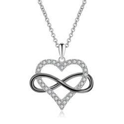 Custom ювелирные изделия с 925 серебристые Сердечка бесконечности любви подвесной ожерелья украшения для свадебных участия