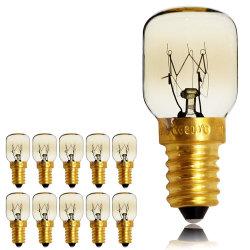 Tianfan 10pieces/Pack 25W Ses E14 나사 모자 난쟁이 램프 300 도 마이크로파 또는 오븐 정격 전구 T25