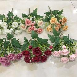 Ramo de Flores Artificiales Flor Planta Rosa mezcla falsa con el crisantemo