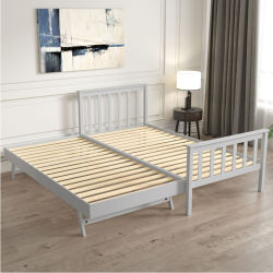 سرير صلب مع سرير قوي يمكن سحبه من الخشب الصلب متعدد الوظائف