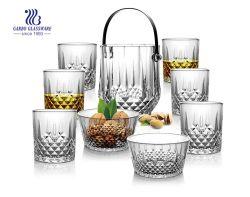9PCS de Emmer van het Ijs van het glas met de Punten dat van de Gift van het Glaswerk van het Huis van de Kommen van de Salade en van de Koppen van het Glas wordt geplaatst