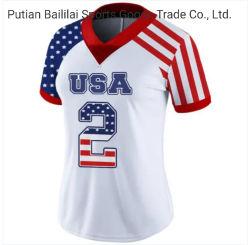 新しいデザイン刺繍OEMのフラグバージョンフットボール第2のジャージの衣服