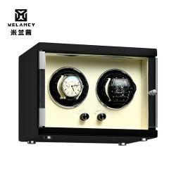 Verniz de madeira de fibra de carbono preto brilhante Piano assistir a caixa de elevador de vidros duplos Motor silencioso para exibir caso nós Plug assista o agitador