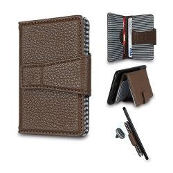 Manguito de bloqueo de RFID cubre Celular Slim Leather Pocket Wallet Volver Stick Caso de tarjeta de crédito