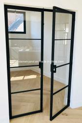 Горячий интерьер Стальная французская стеклянная металлическая дверь Гриль