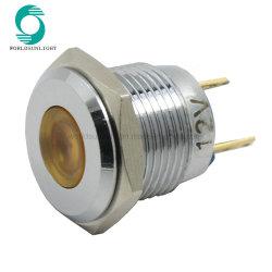 ضوء مؤشر معدني DC بجهد 12 فولت وقدرة 16 مم، مصدر ضوء LED أصفر مصباح الإشارة المقاوم للمياه