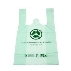 طباعة متعددة الألوان قابلة للتخصيص قابلة لإعادة التدوير قابلة للتحلل الحيوي Supermarket Vest PE نشاء الذرة ببات بلا قميص بلاستيكي HDPE LDPE صديق للبيئة حقيبة