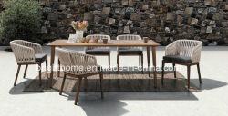 Part de l'artisanat grande table à manger ensemble imperméable Accueil Hôtel Patio de tissage extérieure de jardin Meubles de salle à manger en plein air