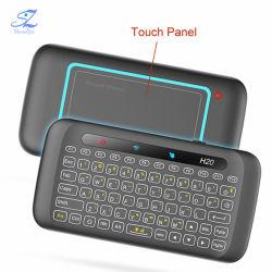 H20 휴대용 퍼스널 컴퓨터 지능적인 텔레비젼 상자를 위한 두 배 편들어진 접촉 키보드 전화면 터치패드 2.4GHz 무선 소형 키보드