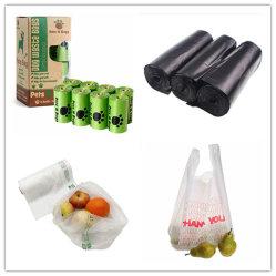 HDPE LDPE биоразлагаемых материалов продовольственных магазинов / футболка с плоским мусорной свалки мусора собака мусорный мешок отходов Пэт Poop Пу / печать пластиковые пакеты с Логотип печать