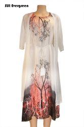 Nouveau design de mode Two-Pieces De longueur moyenne des robes d'usure avec gaze Dames