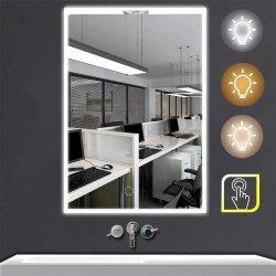"""El LED espejo del baño en la pared la luz, de 24"""" X 32"""" de la luz de cortesía con retroiluminación Edge iluminado con 3 colores interruptor táctil regulable rectángulo horizontal"""