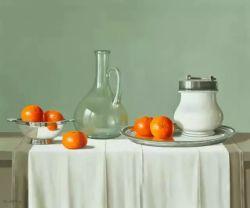 Bouteille d'eau, Orange sur la peinture d'huile